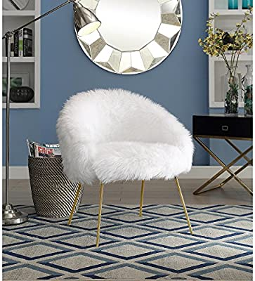 Peachy Ana White Fur Accent Chair Metal Legs Upholstered Living Room Entryway Bedroom Inspired Home Caraccident5 Cool Chair Designs And Ideas Caraccident5Info
