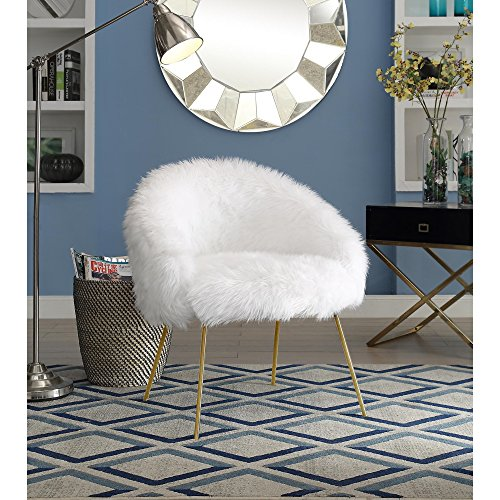 Groovy Girls Vanity - Ana White Fur Accent Chair - Metal Legs | Upholstered | Living Room, Entryway, Bedroom | Inspired Home