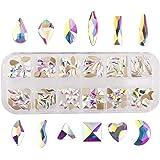 Nancybeads Sparkly Micro Mini Tiny Rhinestones Nail Art Gems Nail Decorations (Crystal AB, Mixed 144pcs)