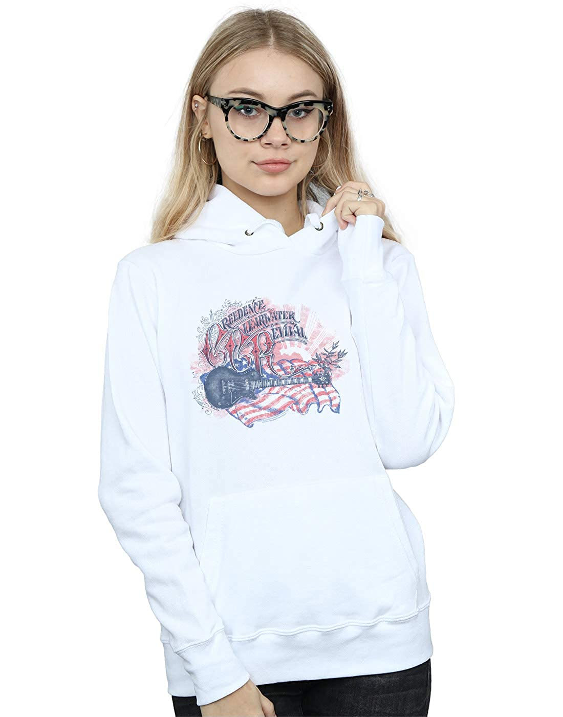 Absolute Cult Creedence Clearwater Revival Womens Guitar Flag Hoodie