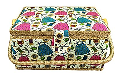 ea02f5244ada89 Amazon.com: Large Fabric Covered Sewing Basket with Insert Tray and ...