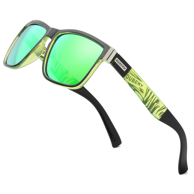 DUBERY Vintage Polarized Sunglasses for Men Women Retro Square Mirrored Lens Sun Glasses D518, Green by DUBERY