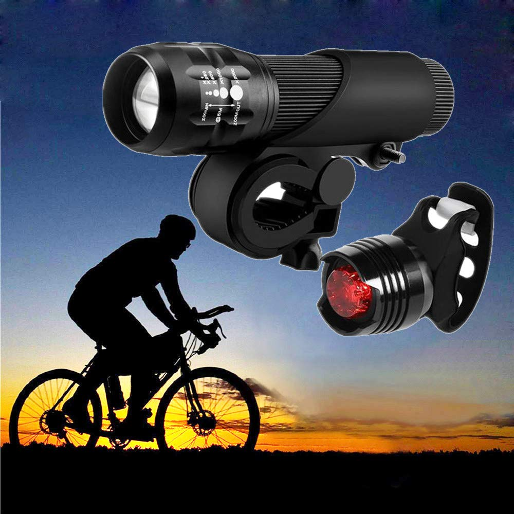 Bike Safe Lamp,Quaanti LED Bicycle Bright Bike Lamp Safe Riding Flashlight Lamp Set Include Bike Light Bracket Headlight Rear Tail Light 2018 New Black