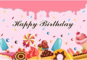 DORCEV 10x8ft Happy Birthday Photography Backdrop Cartoon Candy for Kids Birthday Party Background Cartoon Sweet Lollipop Candy Corful Stripes Party Cake Table Banner Kids Photo Studio Props