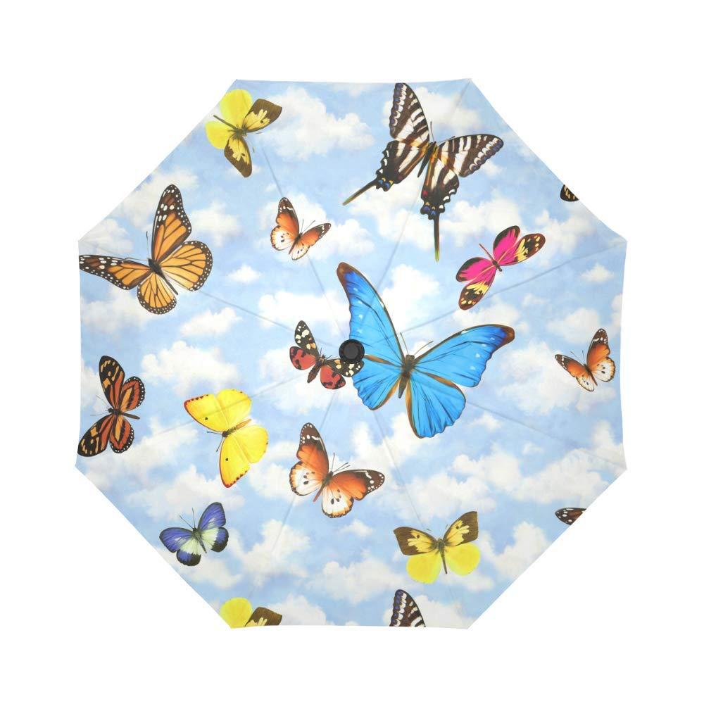 美しいカラフルな蝶 防風 防雨 自動開閉 折りたたみ傘 旅行 コンパクト 壊れない 雨 日傘 B07P62655Y