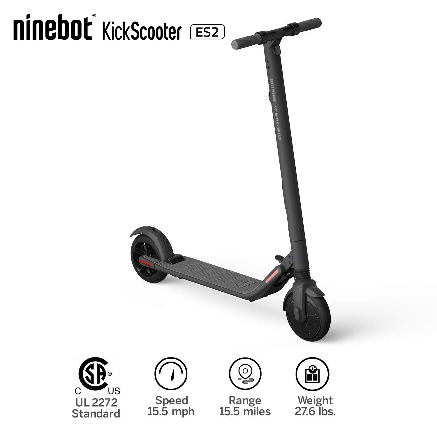 Segway Electric KickScooter Foldable Commuter Scooter, 15.5 Mile Range, 15.5 mph Top Speed, Cruise Control, Bluetooth Mobile App Connectivity for Adults and Kids(Scooter ES2)