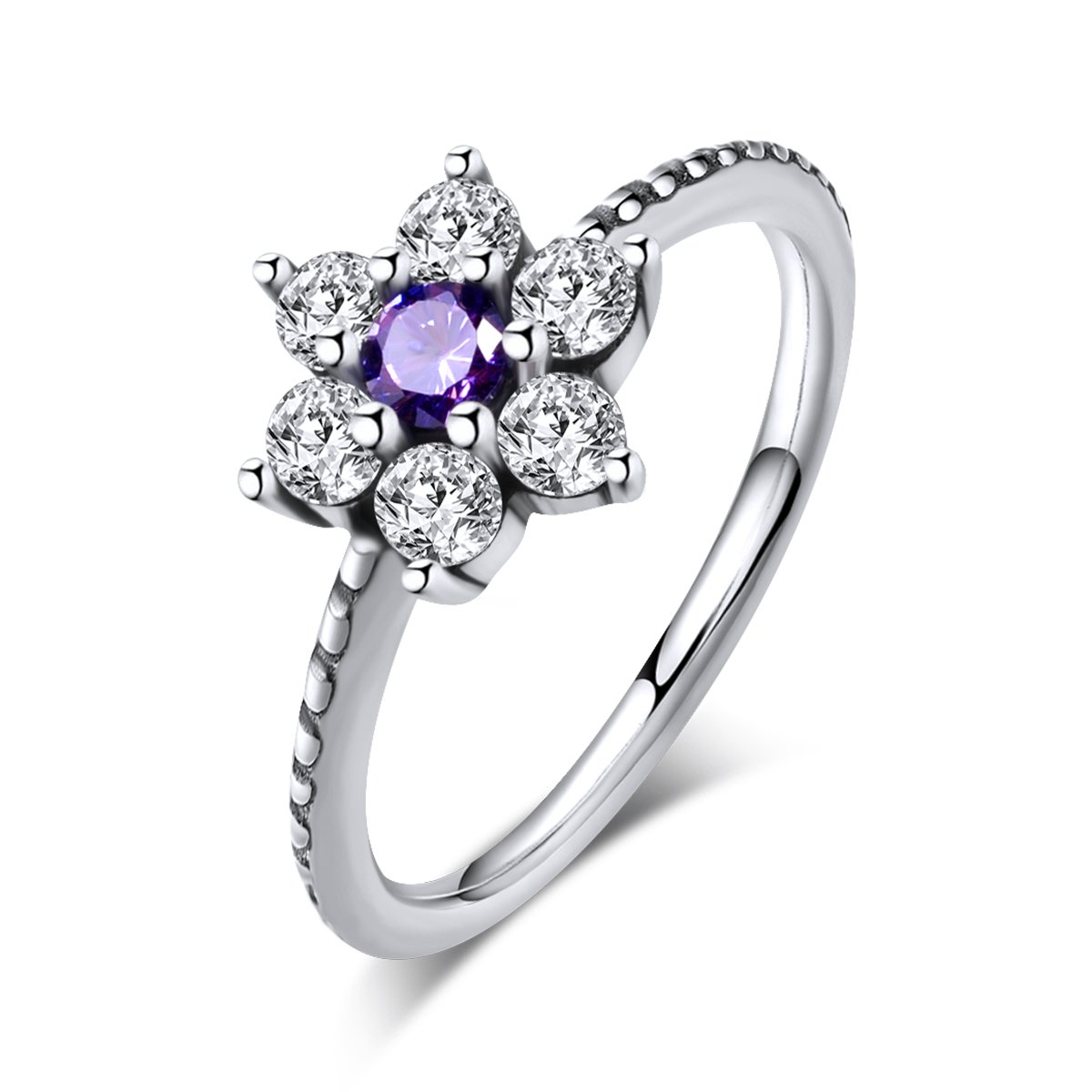 Twenty Plus Forget Me Not Flora Finger Ring With Purple & Clear CZ For Gifts