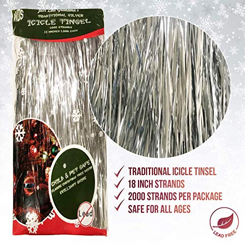 Premium Icicle Tinsel Garland for Christmas Trees - 2000 Old-Fashioned Shiny Mylar Strands - Each Stand 18 Inch Long - Kid & Pet Safe (Lead-Free) - Hang with Ornaments & Xmas Decor (Silver)