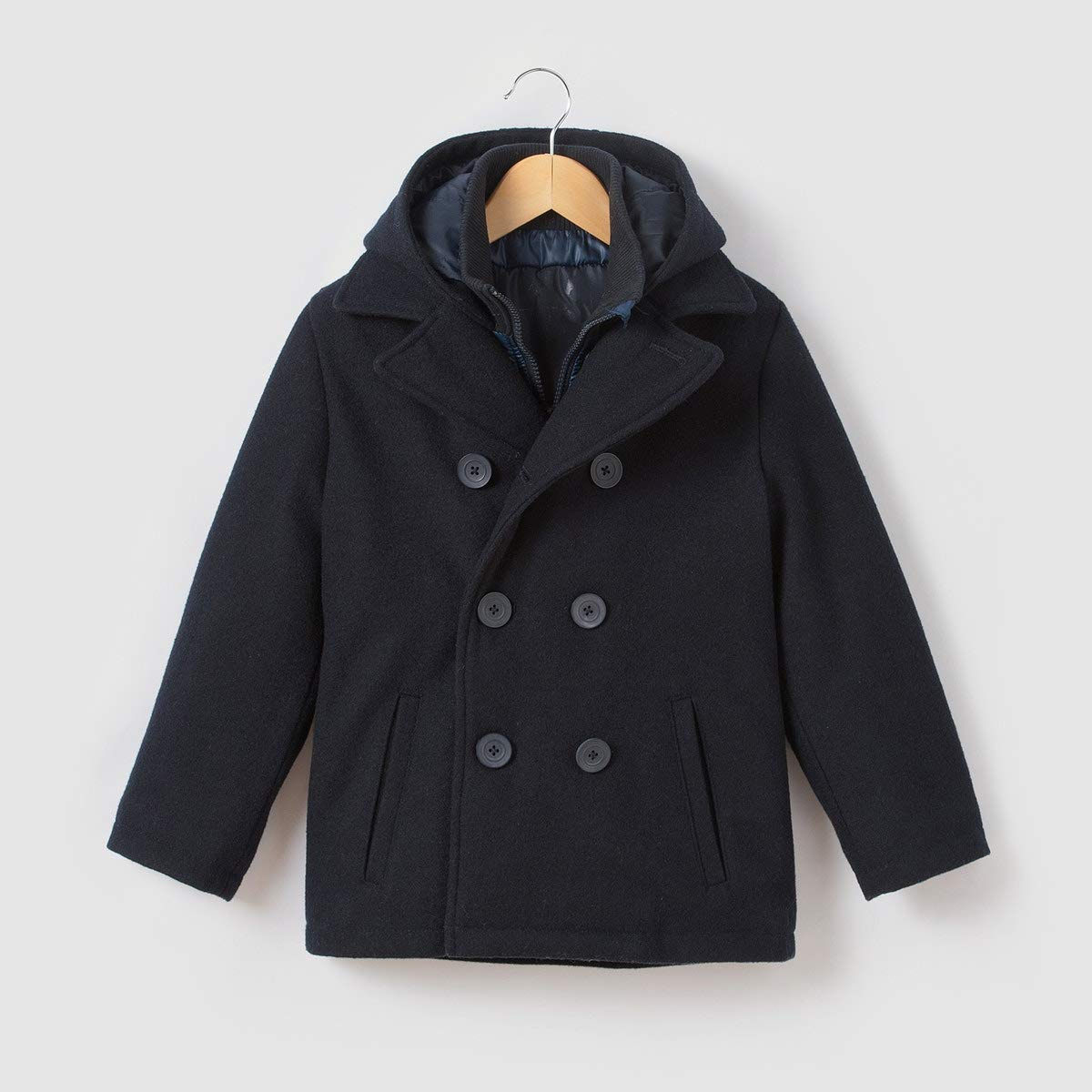 La Redoute Collections Wool Mix Pea Coat, 3-12 Years Blue Size 4 Years (102 cm)