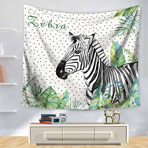 Zebra Tapestry Wall Hanging Tropical Leaf Tapestries Cute Print Wall Decor for Bedroom Living Room Dorm Decor 79X59 Inch ()