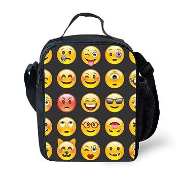 9dbe572d415d Children Travel Picnic Bag Insulated Tote Bag Lunch Box With Drink Bottle  Holder With Shoulder Strap For Boys Girls 3D Print Emoji Black Design