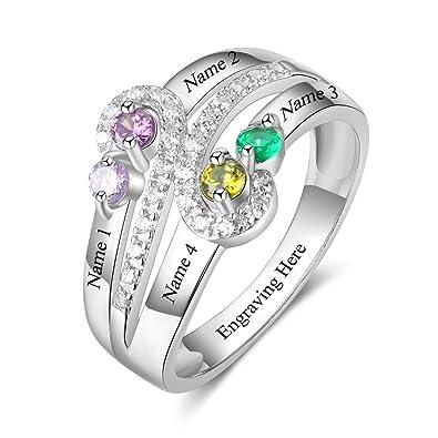 enorme sconto ufficiale taglia 40 Personalizzato nascita Family 4 creato anelli per mamma nonne ...