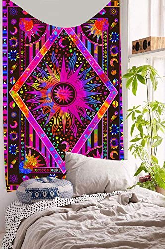 DBLLF Twin Purple Tie Dye Tapestry Burning Sun Tapestry Planet Bohemian Tapestry Ironing Without Wrinkles Washing High-end Luxury Decorative Tapestry with Washing Machine (40×60In DBLX021