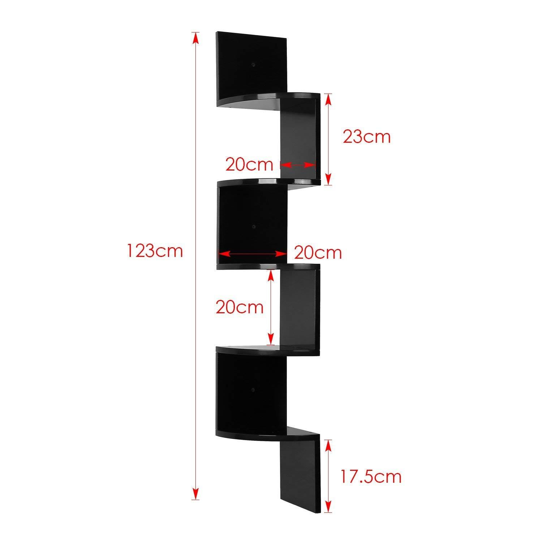 HOMFA Estantes de Pared Juego de 5 Estanterías de Esquina Negro MDF 20*20*123cm: Amazon.es: Hogar