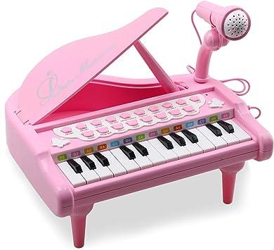 Amy & Benton Jouet Piano Clavier avec 24 Touches Instrument de Musique Électronique Éducationnel avec Microphone de Cadeau d'Anniversaire pour Bébé,Rose