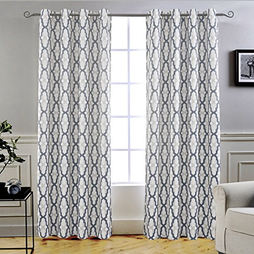 DriftAway Mason Thermal Blackout Grommet Window Curtains, Geometric Trellis Pattern, Set of Two Panels, Each Size 52