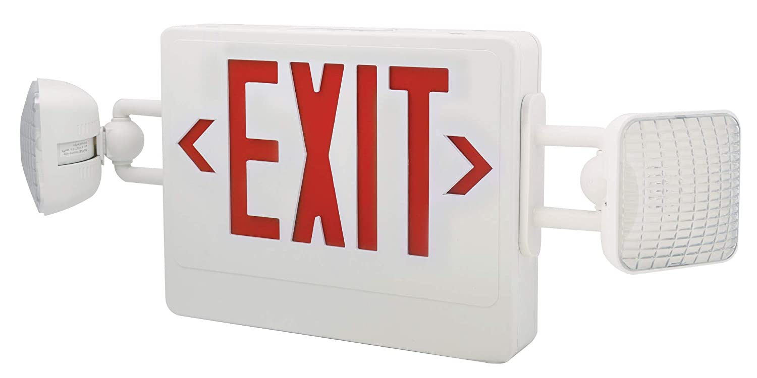 RED Elco Lighting EE97HR LED COMBO EXIT /& EMERGENCY