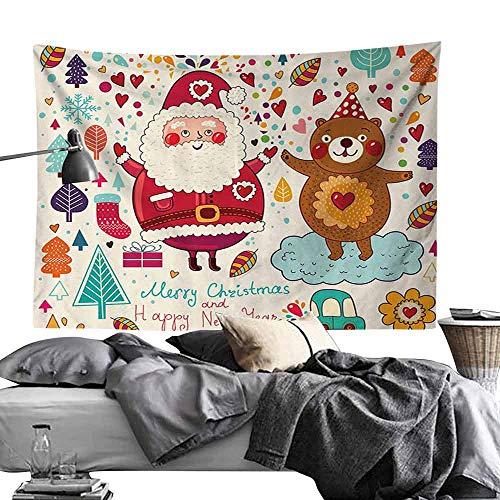 Homrkey Bedroom Tapestry Christmas Santa and Teddy Bear Vintage Christmas Season Ornaments Party Kids Nursery Theme Hippie Tapestry W84 x L54 Multicolor