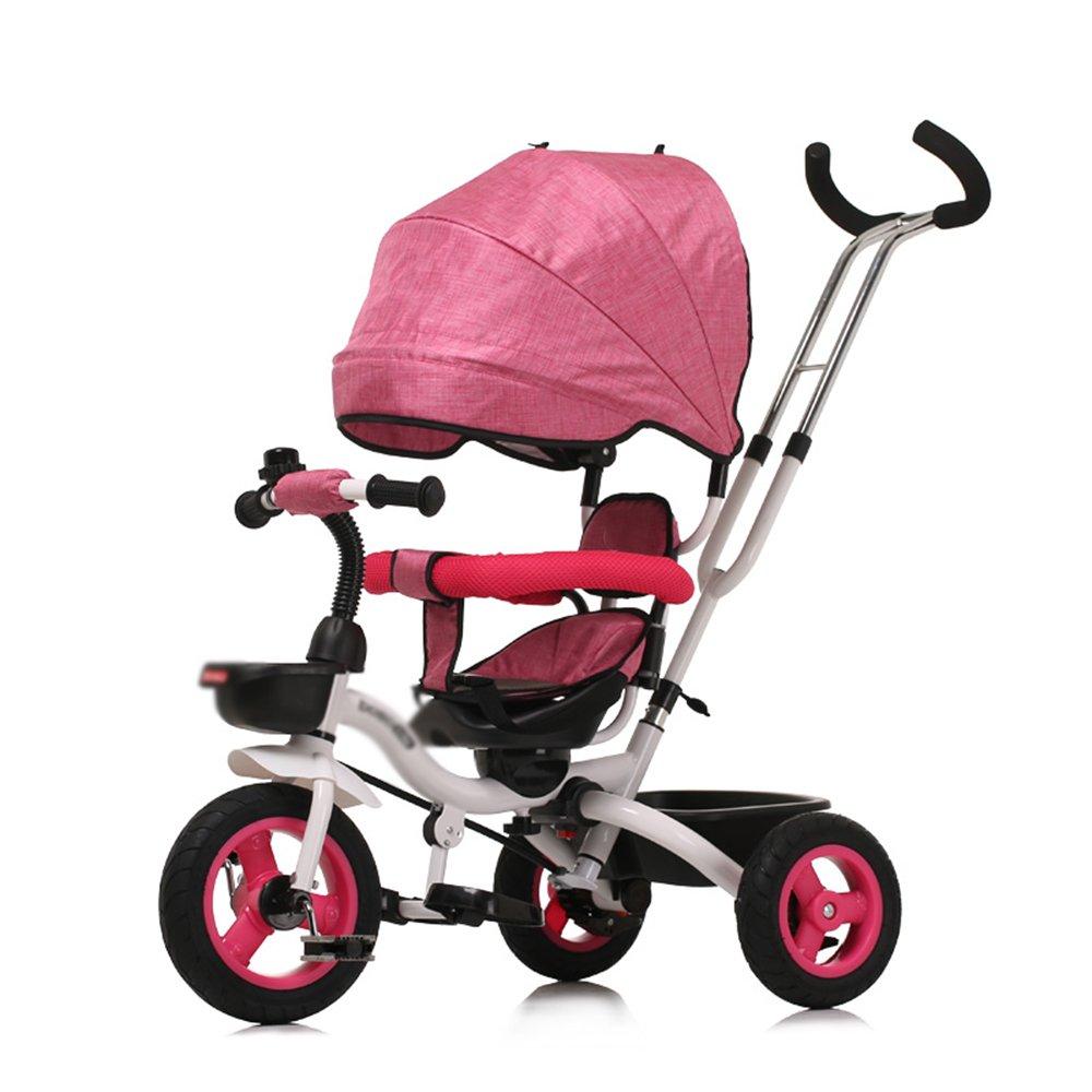 LVZAIXI 4-in-1子供用三輪車、高品質のトロリー自転車キッズは、親ハンドルとアンチUV日除け付きの赤ちゃん用3輪自転車用トライクをプッシュします ( 色 : ピンク ぴんく ) B07CG499P6 ピンク ぴんく ピンク ぴんく