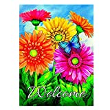 ALAZA Welcome Butterfly Flowers Sunflower Daisy House Flag Garden Banner 28″ x 40″ Double Sided, Summer Flowers Spring Butterfly Garden Flags for Anniversary Yard Outdoor Decoration Review