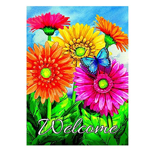 (ALAZA Welcome Butterfly Flowers Sunflower Daisy House Flag Garden Banner 28