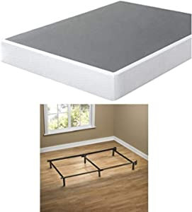 Zinus 9 Inch High Profile Smart Box Spring / Mattress Foundation / Strong Steel structure / Easy assembly required, Twin & Zinus Compack 6-Leg Support Bed Frame, for Box Spring & Mattress Set, Twin