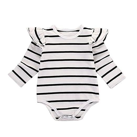 a23bf4479dd6 Amazon.com  Kingte Baby Girls Long Sleeve Ruffle Romper  Baby