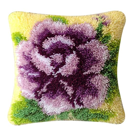 Maliyaw - Juego de almohadas de punto de cruz en 3D, lana ...
