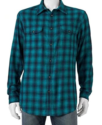 eb19661d42c Sonoma Mens Classic Fit Flannel Shirt Teal Green Navy Plaid Check (Small)