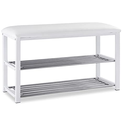 Surprising Amazon Com White 2 Tier Shoe Rack Metal Bench Cushioned Andrewgaddart Wooden Chair Designs For Living Room Andrewgaddartcom
