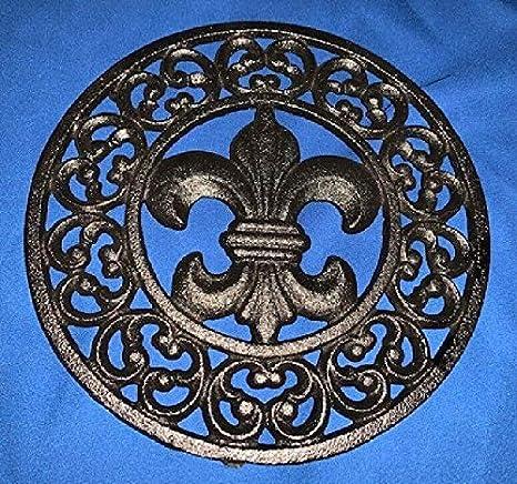 """Cast Iron Glossy Black Fleur De Lis Trivet Kitchen Decor 7 3//4/"""" Round 0184-0201"""