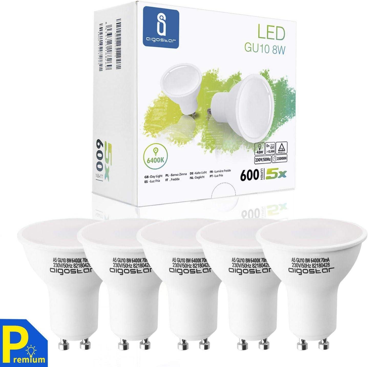 Aigostar -Bombilla LED 8W GU10, Luz blanca fría 6400K, 600lm, Esmerilada, no regulable - Caja de 5 unidades