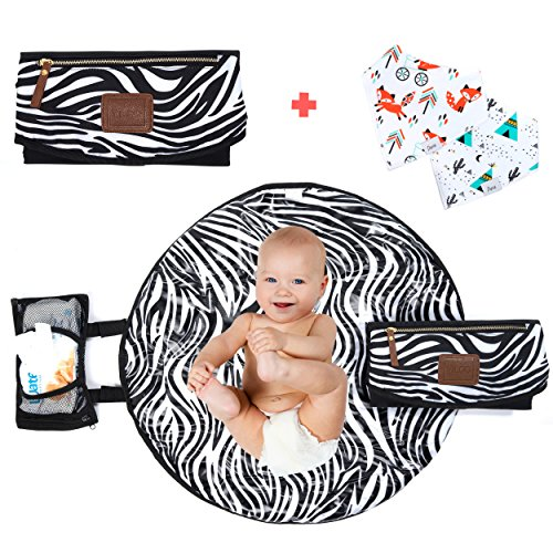 Portable Diaper Changing Pad for Baby Newborn Infant and Toddlers–Waterproof Mat for Home Outdoor and Travel–Designer Lightweight Foldable Clutch Changer Station Organizer-Holds and Diapers and Wipes