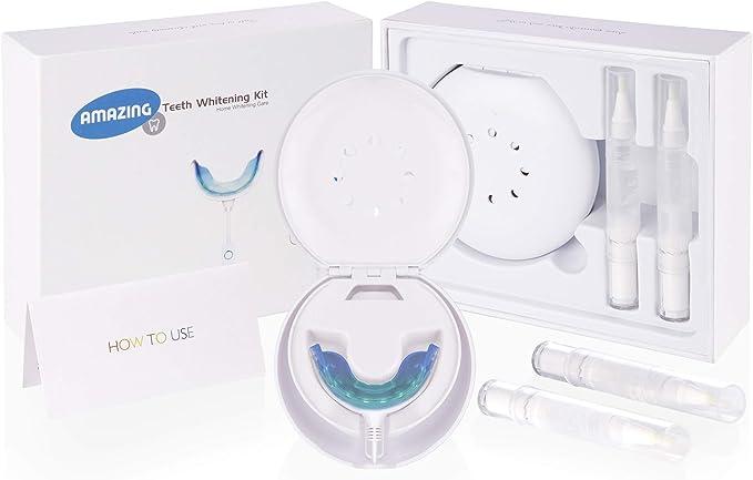 AmazingSmile - Kit profesional de blanqueamiento dental, boquilla de blanqueo láser Ever 16 LED con gel de blanqueamiento dental orgánico y vegano. Quitamanchas aprobado por la FDA sin bacterias.: Amazon.es: Salud y