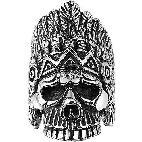 Men's 316L Stainless Steel Native American Indian Skull Ring Band Vintage Gothic Punk Biker Silver Black Size 9 ()