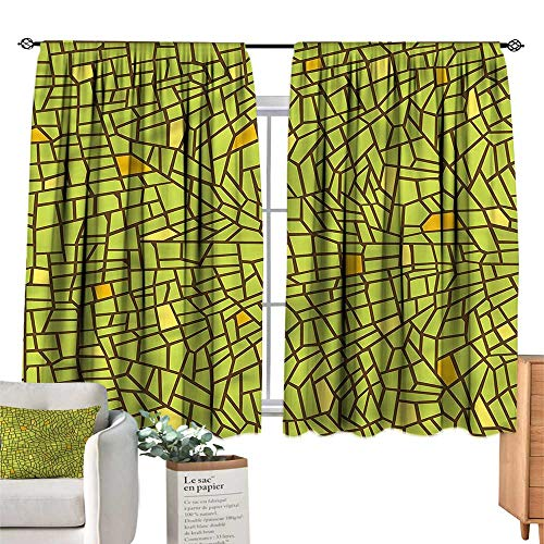 Mannwarehouse Heat Insulation Curtain Green Stained Glass Design Mosaic W55 xL39 Suitable for Bedroom,Living,Room,Study,etc.