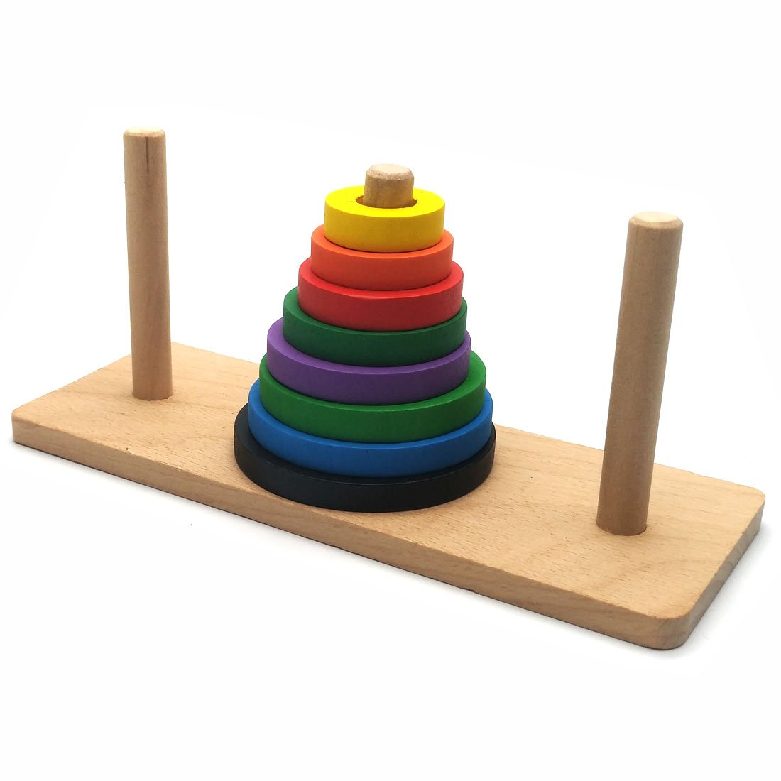 Puzzle Toy Brain Traing Tower of Hanoi Wooden Logic Brain Teaser Puzzle 8 Rings