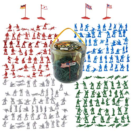 (Liberty Imports Army Men Military Action Figures Bucket Playset - World War II Toy Soldiers Combat Special Forces (Soldiers Only))