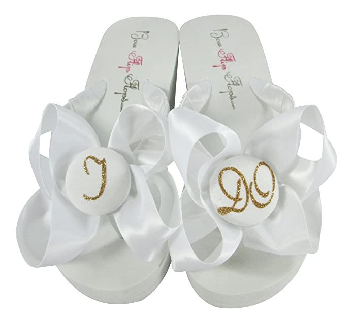 Amazon Com White Wedge Glitter I Do Bow Flip Flops For The Bride Wedding Bridal Shoes Flip Flops