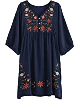 Yaketera Women Mexican Embroidered Peasant V Neck Mexican Tops Blouses