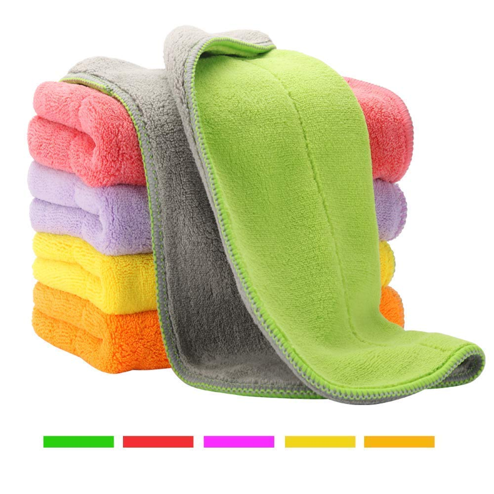 5 Extra Thick Microfiber Cleaning Cloths with 5 Bright Colors, Super Absorbent Dust Cloths Buffing Cloths with Two Color on Two Side, Lint Free Streak Free for Tackling Any Cleaning Job with Ease by HOUSE AGAIN