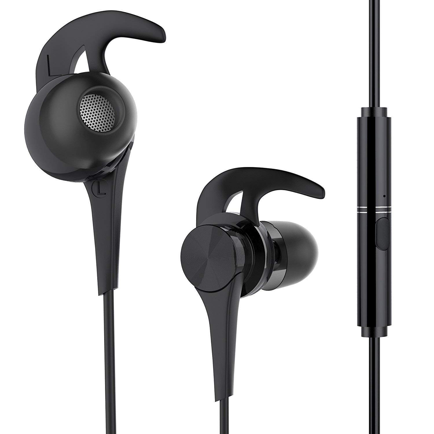 Earphones, BYZ Wired Earbuds with Mic Volume Control,Sweatproof Stereo Bass Noise Cancelling Headphones for Running