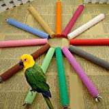 Rubyyouhe8 Bird Accessories&Parrot Cage Rough Surface Wood Paw Grinding Perch Stand Stick Platform Bird Toy Colorful Bird Parrot Toys Hanging Toy for Parakeets Cockatiels Small Pet