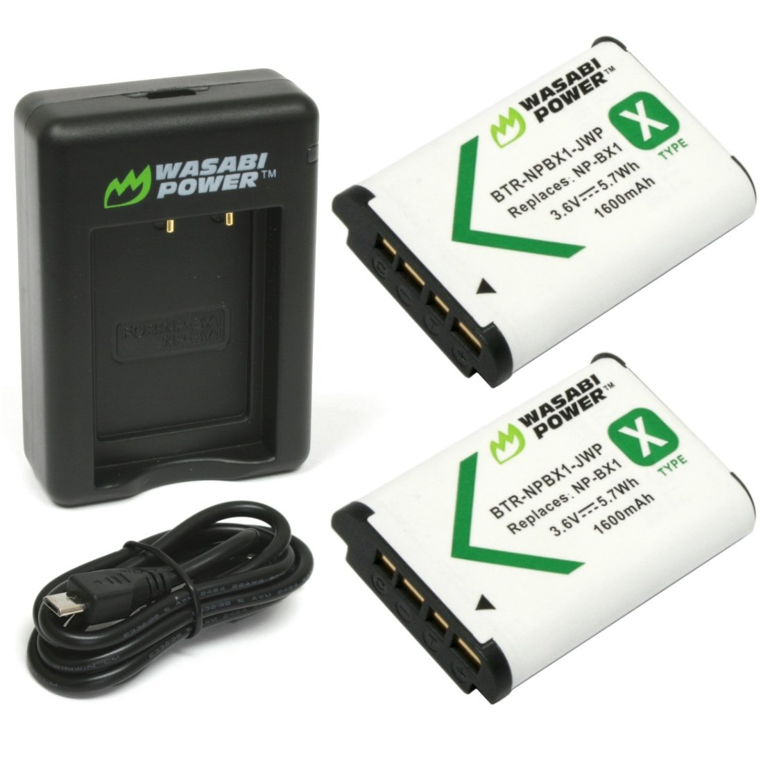 Wasabi Power Battery (2-Pack) and Dual Charger for Sony NP-BX1, NP-BX1/M8 KIT-BB-NPBX1-01