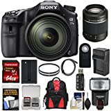 Sony Alpha A77 II Wi-Fi Digital SLR Camera & 16-50mm Lens with 55-200mm Lens + 64GB Card + Battery & Charger + Backpack + Flash + Kit