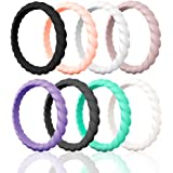 Egnaro Silicone Wedding Ring Women,Thin Stackble Braided Rubber Wedding Bands,No-Toxic,Skin Safe
