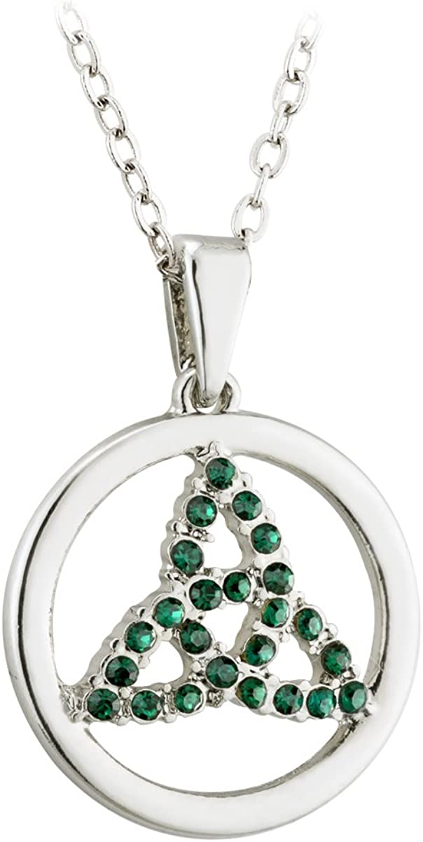 Solvar Rhodium Plated Crystal Trinity Circle Pendant Necklace