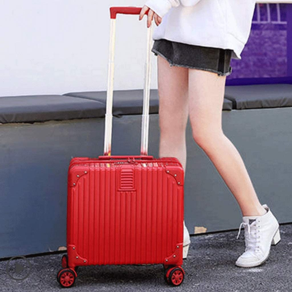 HUANGA Boarding Simple Personality Mini Small Suitcase Color : Red 18 inch Trolley case 4 Wheels