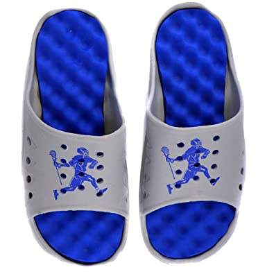 Mens Post-Game Lax Slides | Lacrosse Sport Sandals | Gray/Royal Blue
