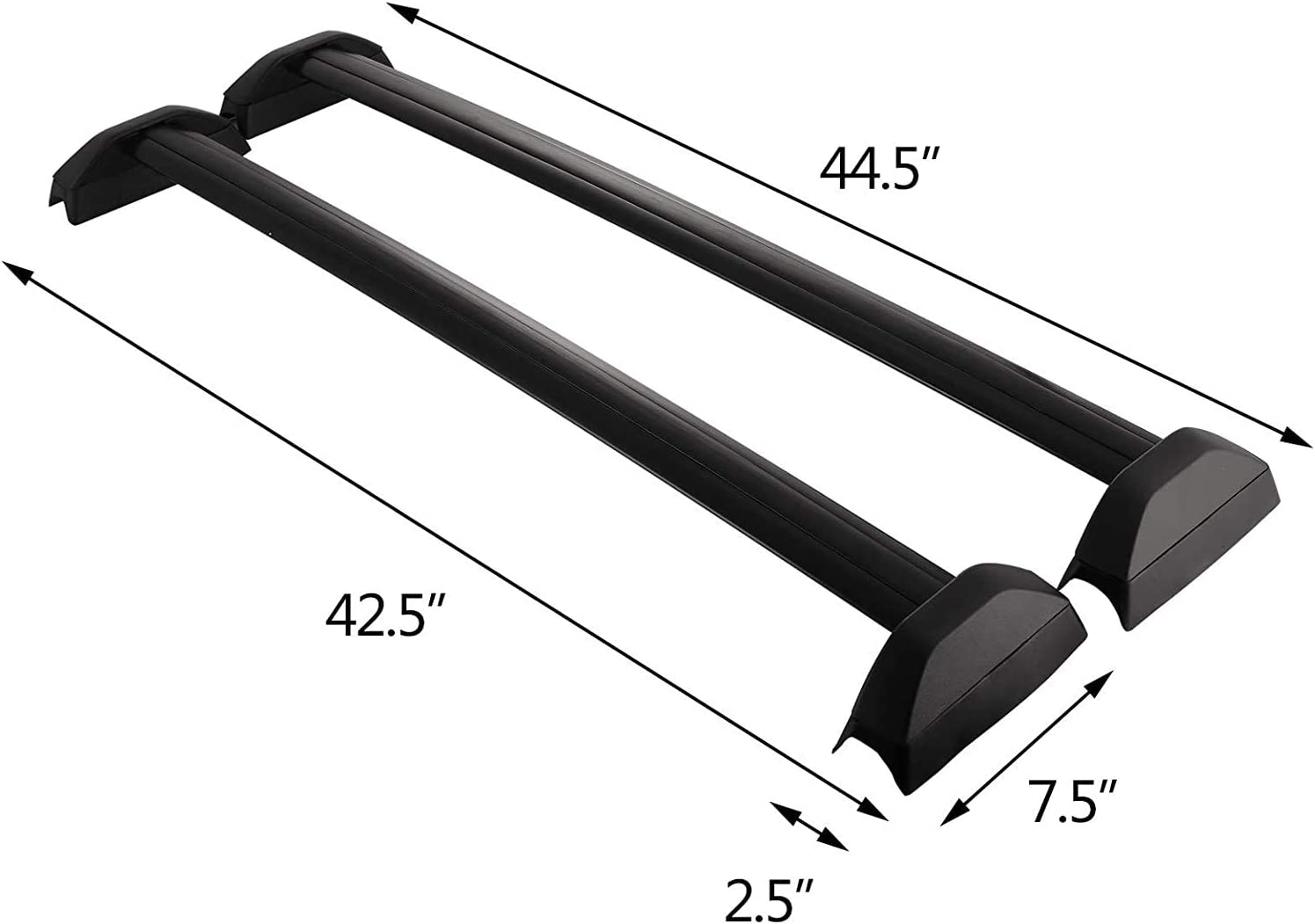 VEVOR Poly Roof Bars For Hon-da CRV 02-06 Fixed Point Wing Black Luggage Carrier CE Roof Rack Cross Bar Set For Hon-da CRV 2002-2006 Top Black Aluminium